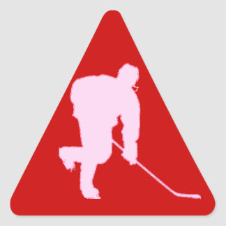 PINK AND RED HOCKEY TRIANGLE STICKER