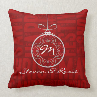 Pink and Red Joy | Holiday Monogrammed Throw Pillow