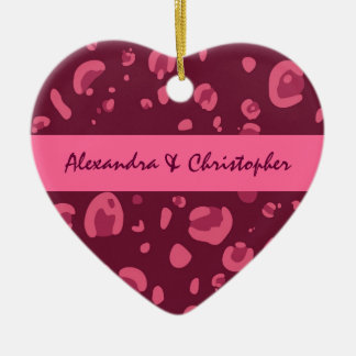 Pink and Red Leopard Couples Ornament C010