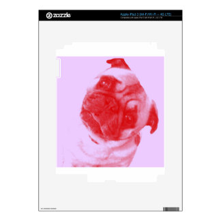 Pink and Red Modern Artist-Inspired Pug Print Skin For iPad 3