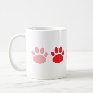 Pink and Red Paw Prints Valentine's Day Coffee Mug