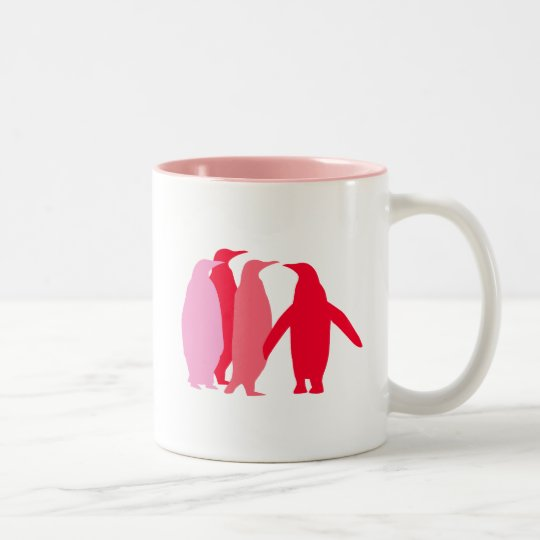 Pink and Red Penguins Two-Tone Coffee Mug