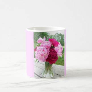 Pink and Red Peonies in Vase Coffee or Tea Mug