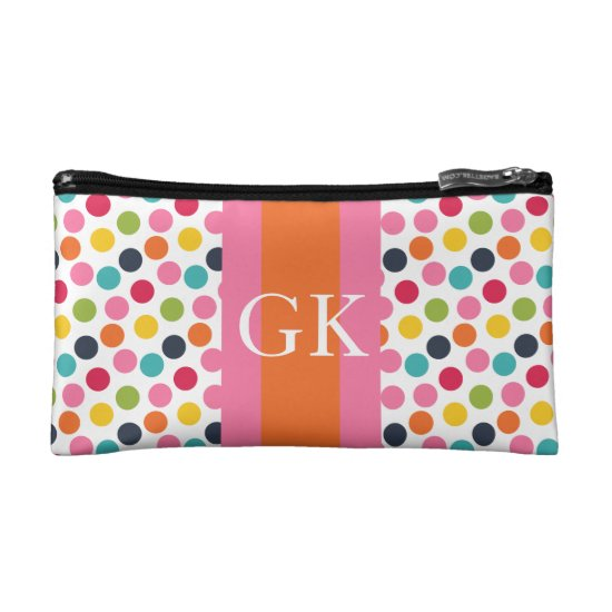 Pink and Red Polka Dot Monoram Pencil Bag