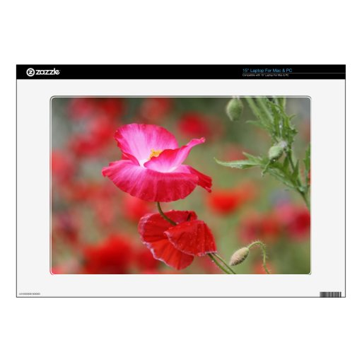 Pink and Red Poppies Photo Laptop Skins