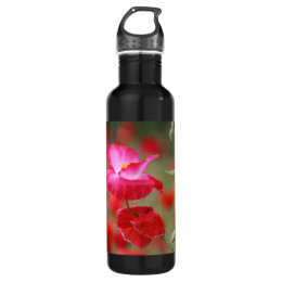 Pink and Red Poppies Photo Water Bottle
