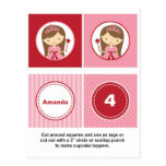 Pink and Red Princess Cupcake Toppers Postcard