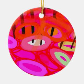 Pink and red psychedelic fish ceramic ornament
