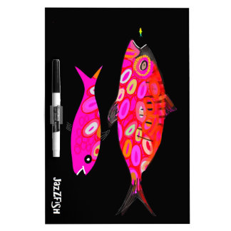Pink and red psychedelic fish dry erase board