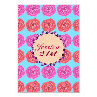 Pink And Red Rose 21st Birthday Card