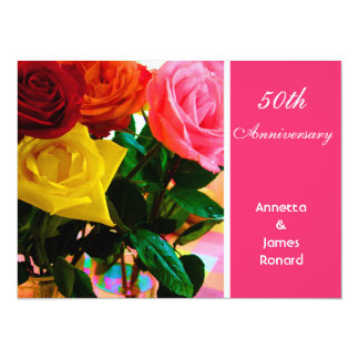 Pink and red rose flowers anniversary 5.5x7.5 paper invitation card