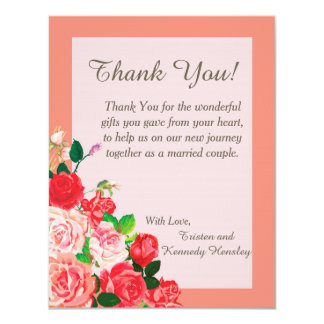 Pink and Red Roses 4x5 Flat Wedding Thank You Card