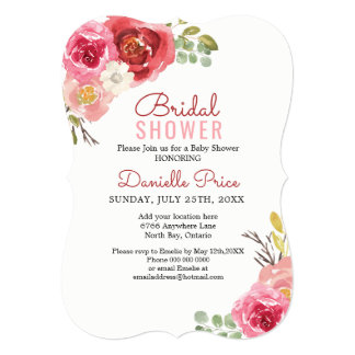 Pink and Red Roses Bridal Shower Invitations