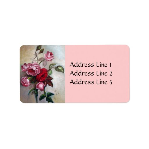 Pink and Red Roses Floral address Label