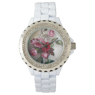 Pink and Red Roses Floral Watch