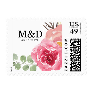 Pink and Red Roses Monogram Wedding Postage