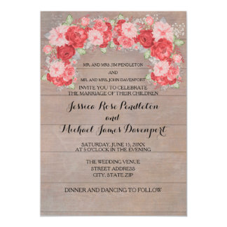 Pink and Red Roses on Rustic Wood Wedding Card