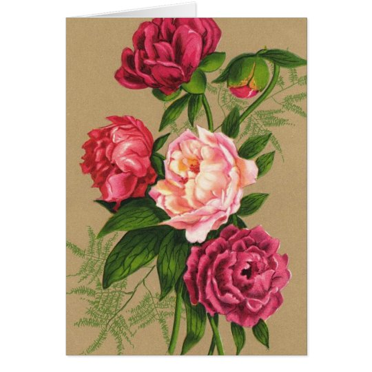Pink And Red Roses Painting Card