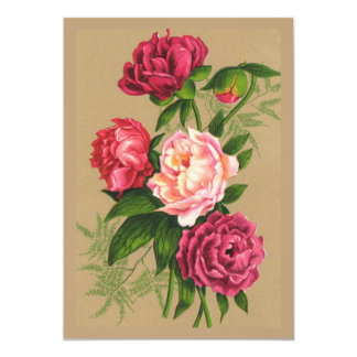 Pink And Red Roses Painting 5x7 Paper Invitation Card