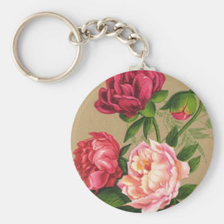 Pink And Red Roses Painting Basic Round Button Keychain
