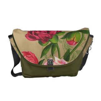 Pink And Red Roses Painting Messenger Bag
