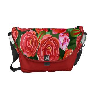 Pink and Red Roses Rickshaw Medium Zero Messenger Courier Bag