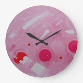 pink and red round large wall clock