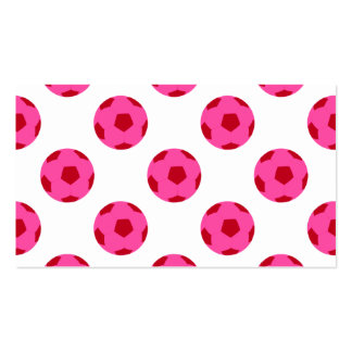 Pink and Red Soccer Ball Pattern Business Card