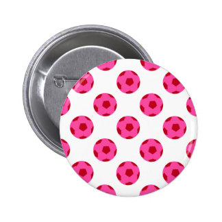 Pink and Red Soccer Ball Pattern Button