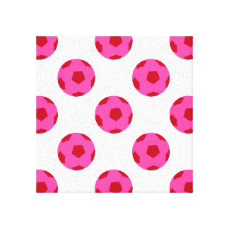 Pink and Red Soccer Ball Pattern Canvas Print