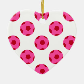 Pink and Red Soccer Ball Pattern Double-Sided Heart Ceramic Christmas Ornament