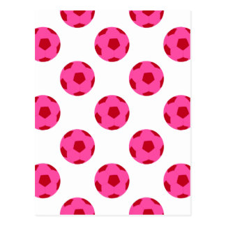 Pink and Red Soccer Ball Pattern Postcard