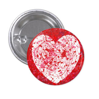Pink and red splattered heart button