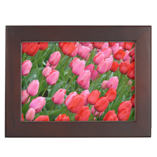 Pink and red spring tulips keepsake box