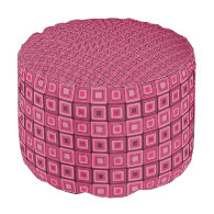 Pink and Red Squares Funky Round Pouf