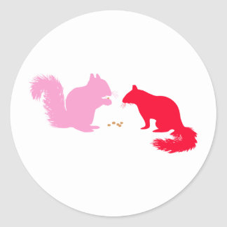 Pink and Red Squirrels Classic Round Sticker