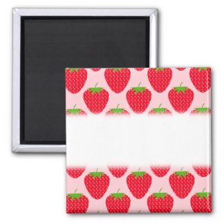 Pink and Red Strawberry Pattern. 2 Inch Square Magnet
