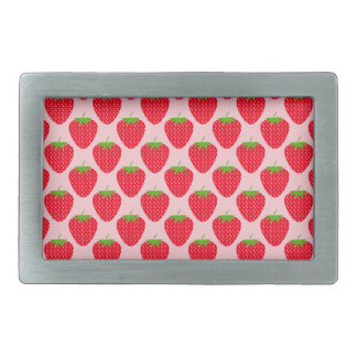 Pink and Red Strawberry Pattern. Rectangular Belt Buckle