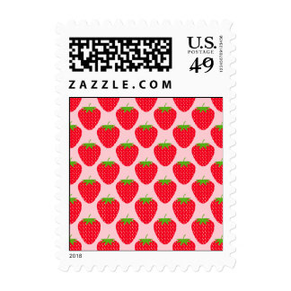 Pink and Red Strawberry Pattern. Postage Stamp