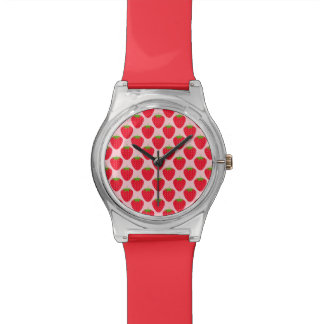 Pink and Red Strawberry Pattern. Wrist Watch