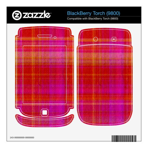 Pink and red tartan BlackBerry torch decal