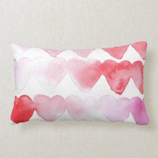 Pink And Red Throw Pillow With Hearts