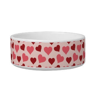Pink and Red Valentine s Day Hearts Pattern Gifts Pet Food Bowls