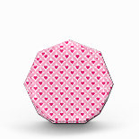 Pink and Red Valentine's Day Hearts Pattern Acrylic Award