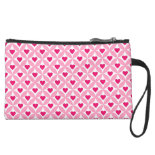 Pink and Red Valentine's Day Hearts Pattern Wristlet Purses