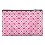 Pink and Red Valentine's Day Hearts Pattern Travel Accessory Bag