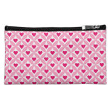 Pink and Red Valentine's Day Hearts Pattern Makeup Bag