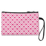 Pink and Red Valentine's Day Hearts Pattern Wristlets