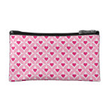 Pink and Red Valentine's Day Hearts Pattern Makeup Bags
