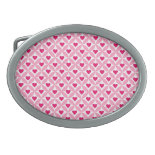 Pink and Red Valentine's Day Hearts Pattern Oval Belt Buckles